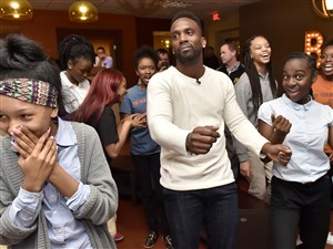 """Pirates center fielder Andrew McCutchen shows off his dance moves during a Pirates charities winter """"Care-A-Van"""" at Zone 28 Thursday in Harmar."""