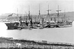 The Great Eastern in the harbor of Heart's Content, Newfoundland and Labrador, in July 1866.