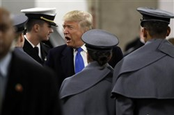 President-elect Donald Trump greets Army Cadets and Navy Midshipmen before the Army-Navy football game in Baltimore on Saturday.