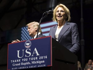 Betsy DeVos, Donald Trump's nominee for education secretary, speaks Dec. 9 during the president-elect's rally at the DeltaPlex Arena in Grand Rapids, Mich.