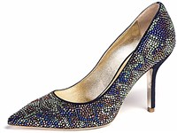 The Erica shoe by Emy Mack is encrusted with Swarovski crystals and retails for $3,000 at the Emy Mack Collective in Shadyside.