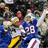 Antonio Brown makes catch against the Buffalo Bills Ronald Darby at New Era Stadium.