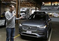 In this photo taken Tuesday, Dec. 13, 2016, Anthony Levandowski, then-head of Uber's self-driving program, speaks about their driverless car in San Francisco.