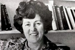 Dorothy Saladiak in her La Roche College office during the 1980s.
