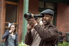 "Director/actor Denzel Washington on the set of ""Fences"" while filming in Pittsburgh."