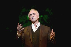 Four-time Super Bowl champion Rocky Bleier performs his one-man show The Play at the Pittsburgh Public Theater's O'Reilly Theater stage on Sunday, Dec. 18, 2016.