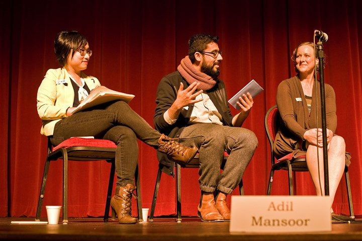 casting2-2 From left: Diep Tran, Adil Mansoor and Gab Cody participate in the Equitable Casting Town Hall on Dec. 12. The event, held at the Charity Randall Theater in Oakland, was a collaboration of Pittsburgh theater artists to promote equitable hiring practices..