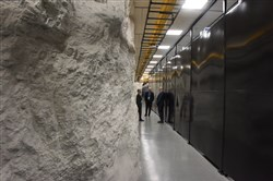 "To the right, a wall covers a data center. To the left is a ""rib"" of limestone. Iron Mountain's facility in Butler County now has 15 active data centers and is adding more."