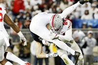 Ohio State safety and New Castle graduate Malik Hooker (24) hits Penn State's Mike Gesicki (88) in a game this season.