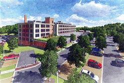 Architectural rendering of the former Westinghouse manufacturing facility at 7800 Susquehanna Street in Homewood.