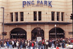In 2001, fans lined up at the home plate entrance of PNC Park to open for the first exhibition game at the baseball-only field.