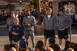 Penn State football players, from left, Koa Farmer, Chris Godwin, Garrett Sickels and Brian Gaia are introduced during a welcome ceremony Tuesday in Anaheim, Calif. Coach James Franklin is at front left. Penn State plays Southern California in the Rose Bowl on Monday.