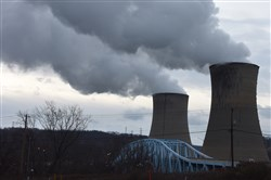 The Beaver Valley Power Station, operated by FirstEnergy,  looms over the Shippingport Bridge spanning the Ohio River in 2016