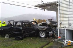 State police said a stolen pickup truck crashed into a house in Bullskin. No one was injured.