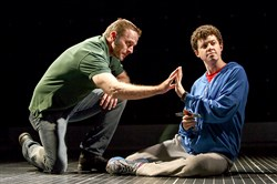 "Gene Gillette as Ed and Adam Langdon as his son, Christopher Boone, in the touring company of ""The Curious Incident of the Dog in the Night-Time,"" at Heinz Hall through Jan. 8."