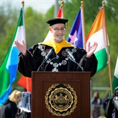 President Chris Fiorentino speaks during the commencement ceremony at West Chester University in May.