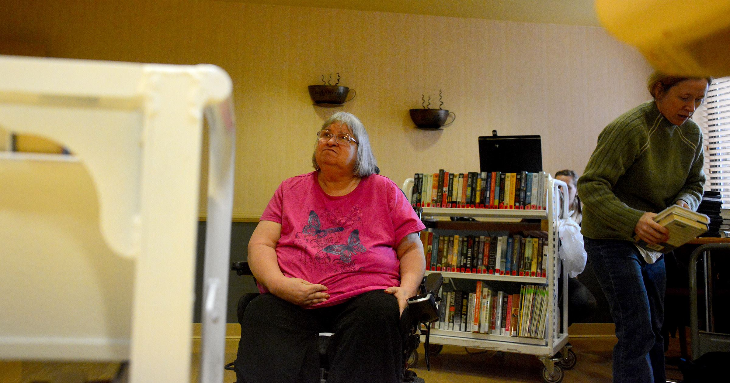 20170105lf-Peers03-2 Becky Napierski, 65, is an avid reader and advocate for the Bookmobile program at ManorCare health Services-Greentree. Ms. Napierski is a graduate of the Pennsylvania Empowered Expert Residents program.