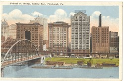 A postcard of the Federal Street Bridge, in the late 19th or early 20th century.