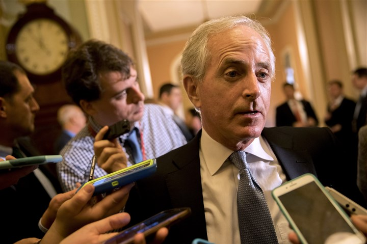 Vice President Swears In Members Of The 115th Congress-2 U.S. Sen. Bob Corker, R-Tenn., speaks with reporters at the U.S. Capitol on Tuesday in Washington, D.C.