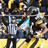 Steelers receiver Antonio Brown celebrates his second touchdown in the first half Jan. 8 against the Miami Dolphins.