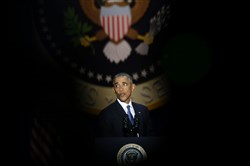 President Barack Obama speaks during his farewell address in Chicago on Tuesday.