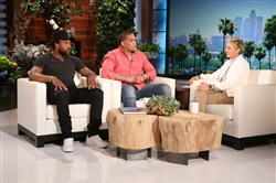 "Kansas City Chiefs safety Eric Berry (left) and Pitt running back James Conner talk with Ellen DeGeneres on ""The Ellen DeGeneres Show"" in April. Berry used his personal experience to help mentor Conner through his battle with Hodgkin lymphoma, and DeGeneres arranged a meeting with the two athletes on her show."