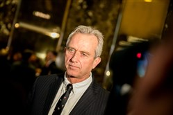 Robert Kennedy Jr. is seen in the lobby of Trump Tower in New York on Tuesday.