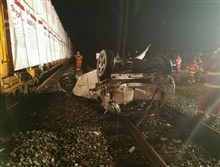 A train crashed into a vehicle when it ended up on tracks in Sutersville Wednesday night.