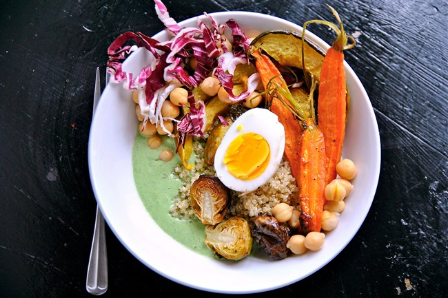 Roasted Vegetable Bowl with Green Goddess Dressing.