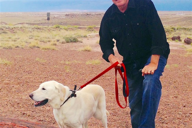 """David Elliot Cohen, author of """"The Wrong Dog,"""" at the Painted Desert in Arizona with Simba."""