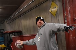Ben Roethlisberger warms up in the tunnel at Arrowhead Stadium Kansas City before the Steelers' win over the Chiefs.