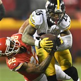 Le'Veon Bell rushed for 170 yards on 30 carries in the Steelers' 18-16 victory against the Chiefs in an AFC divisional round playoff game at Arrowhead Stadium.