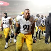Steelers defensive lineman Stephon Tuitt celebrates as he leaves the field after the Steelers beat the Chiefs on Jan. 15 at Arrowhead Stadium.