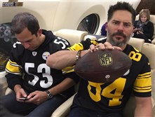 Mt. Lebanon native Joe Manganiello tweeted this picture on his way back from Kansas City, Mo., following the Steelers 18-16 victory over the Chiefs.