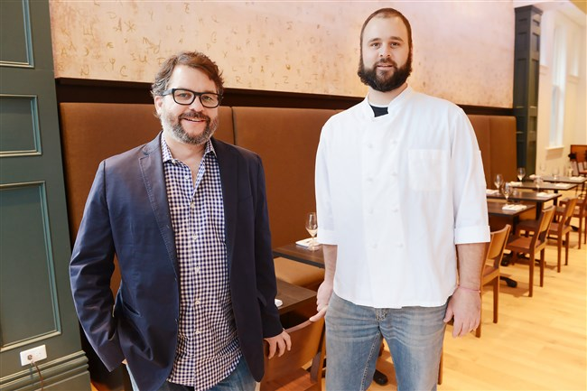 Owner Brian Keyser, left, and executive chef Andrew Hill, Casellula, the new restaurant at City of Asylum's Alphabet City, on the North Side.
