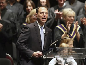 Josh Shapiro, speaks to the crowd, after being sworn in as Pennsylvania's attorney general on Tuesday.
