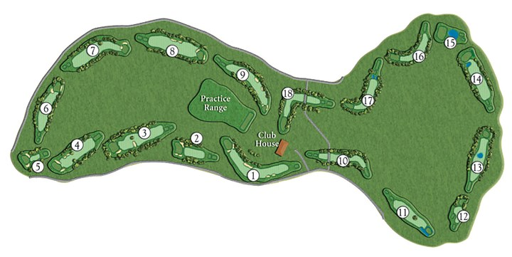 indianlakegolf0122 course layout buyinghere-1 Course layout for Indian Lake Golf Club. The nine holes designed by Arnold Palmer in the 1960s are now holes 10-18.