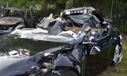 The wrecked Tesla Model S that was being driven by Josh Brown when it crashed into a turning tractor trailer.