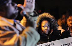 """I want justice for my son, please, that's all we're asking for is justice,"" said Ms. Hines, 32, at a press conference Wednesday night outside the Woodland Hills administration building."