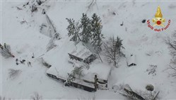 An aerial view of the Rigopiano Hotel hit by an avalanche in Farindola, Italy, early today.