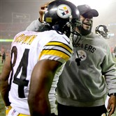Antonio Brown and Mike Tomlin after the Steelers' win Sunday in Kansas City