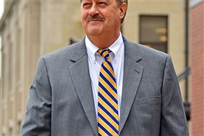 Don Blankenship makes his way out of the Robert C. Byrd federal courthouse in Charleston, W.Va., during jury selection for his trial in 2015.