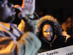 """""""I want justice for my son, please, that's all we're asking for is justice,"""" said Ms. Hines, 32, at a press conference Wednesday night outside the Woodland Hills administration building."""