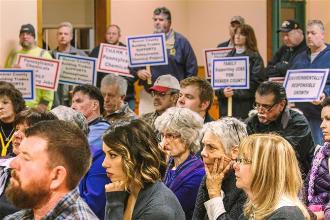 Opponents and supporters of the proposed Shell cracker plant listen during a meeting of the Potter Township Supervisors as they discuss a conditional use permit application for the plant at the Potter Township Municipal Building on Wednesday.