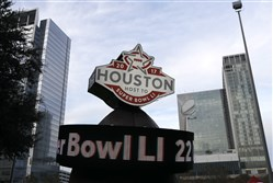 A countdown sign leading up to Super Bowl LI in Discovery Green park in downtown Houston.