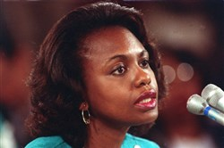 Anita Hill testifies at the confirmation hearing for Clarence Thomas in 1991