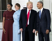 President Barack Obama and first lady Michelle Obama greet Donald Trump and his wife, Melania, at the White House on Inauguration Day.