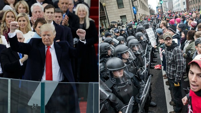 Donald Trump acknowledges the crowd during his inauguration. Meanwhile, protesters gathered in the streets of D.C.