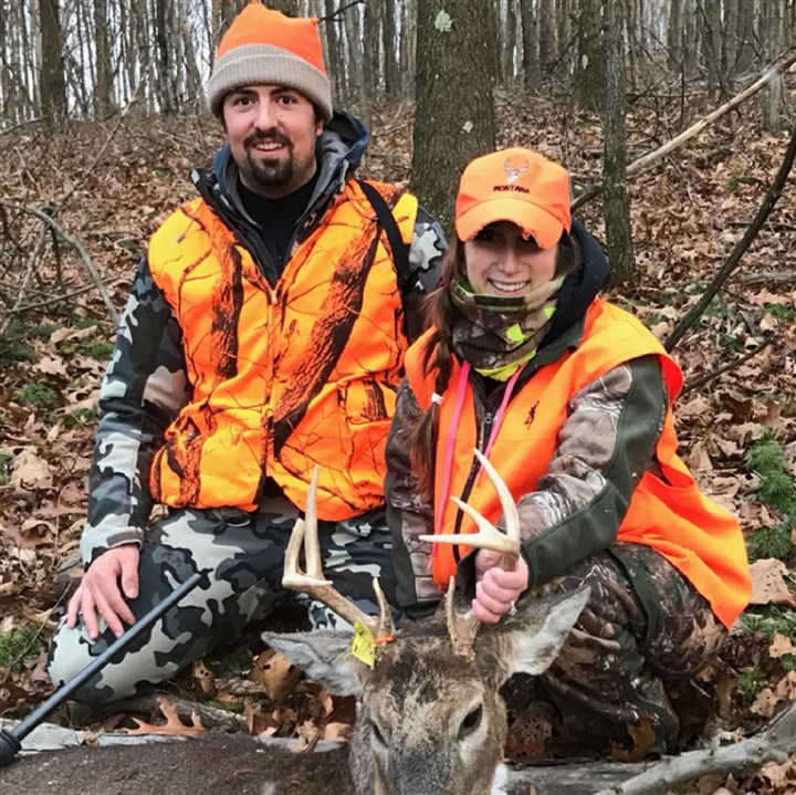 DEERtuma Three months after taking Wade Tuma, left, in marriage, Bree Ann Tuma of Monaca took her first buck, a nice 8 point, in Beaver County.