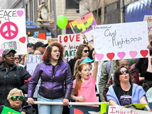 The Women's March fills Fifth Ave. in Downtown Pittsburgh on Saturday